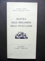 Catalogo Mostra Delle Pergamene Dello Stato Landi  Bardi 1976 - Non Classificati