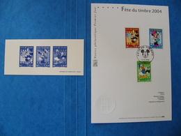 Fête Du Timbre 2004 Disney Donald Mickey Minnie Notice Philatélique Premier Jour + Gravure Imprimerie Des Timbres Poste - Postdokumente
