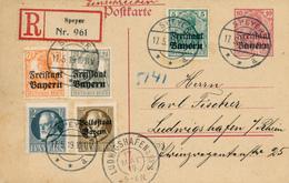 SPEYER - 1919 , R-Postkarte Freistaat Bayern - Nach Luwigshafen - Bayern (Baviera)