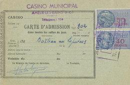 PAIRE DE CARTES CASINO MUNICIPAL D'ANNECY Roulette Baccara - 1957 -  F-01 - Fiscali
