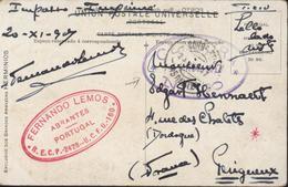 CP Porto Ruea Clerigos YT 207 208 CAD Corro 23 11 17 Censura 24 Nov 17 N°60 Cachet Commercial F Lemos Abrantes Portugal - 1910-... République