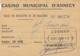 TROIS CARTES CASINO MUNICIPAL D'ANNECY Roulette Baccara - 1956 Et1962 -  F-02 - Fiscali