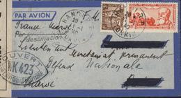 Guerre 39 Censure Bande Contrôle + Cachet Ouvert Autorités Militaire WK 423 Marseille Pr Maroc YT 157 + Pa 15 Indochine - Indochina (1889-1945)