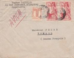 Maroc Yvert 320 + 187 X 2 Paire Sur Lettre CASABLANCA 18/3/1946 ( Cachet Manuel + Flamme ) Pour Bamako Soudan - Maroc (1891-1956)