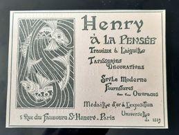 HENRY A LA PENSEE POISSONS MARCHAND NOUVEAUTES ART NOUVEAU PUBLICITE 1900 FRENCH ANTIQUE ADVERTISING JUGENDSTIL PARIS - Publicités