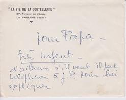 VIEUX PAPIER - LETTRE ET COURRIER -  ENTETE - LA VIE DE LA COUTELLERIE - A LA VARENNE SEINE - - Manuscrits