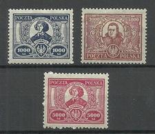 POLEN Poland 1923 Michel 182 - 184 Nikolaus Kopernikus Copernik * - 1919-1939 República