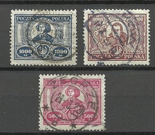 POLEN Poland 1923 Michel 182 - 184 Nikolaus Kopernikus Copernik O - 1919-1939 Republik