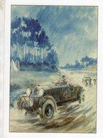 24 Heures Du Mans 1935 - Lagonda, Aston Martin Au Virage D'Arnage - Gouache De Géo Ham - Carte 210x150mms - Le Mans