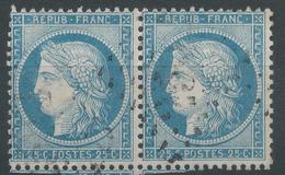 Lot N°50155  Variété/Paire Du N°60, Oblit GC 2502 Montpellier, Hérault (33), Piquage - 1871-1875 Cérès