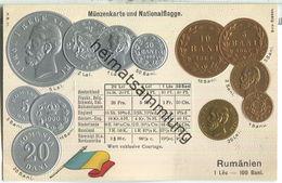 Münzkarte - Nationalflagge - Rumänien - Prägedruck - Verlag H. S. M. - Monnaies (représentations)