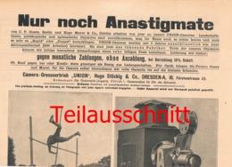 005 Fotoausrüstung Union Stöckig Dresden Ferngläser Bilder Ca. 1900 !!! - Supplies And Equipment