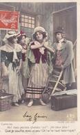 """CARTE FANTAISIE. Theatre. SÉRIE COMPLÈTE DE 5 CARTES COLORISÉES NUMÉROTÉES.  """"MADAME SANS GÈNE """". ANNÉE 1909 + TEXTE - Theatre"""