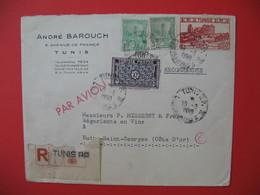 Tunisie Lettre 1950  Entête André Barouch  Tunis En AR N° 80 Par Avion Cachet Chargement III Pour La France Côte D'Or - Tunisia (1888-1955)