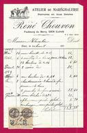 Document Commercial Avec Timbres Fiscaux Daté De 1925 - Atelier De Maréchalerie René Chouvon à Gien - Artesanos