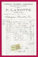 Document Commercial Avec Timbre Fiscal Daté De 1921 - Maison De Transports P. Lanotte Sise à Gien - Transporte