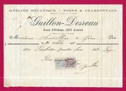 Document Commercial Avec Timbre Fiscal Daté De 1921 - Atelier De Mécanique Guillon Desreau Sis Route D'Orléans à Gien - Automovilismo