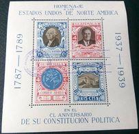 Guatemala 1938: 150 Years USA  Michel-No.374-377 = Block 1 O PRIMER DIA DE CIRCULATION ENERO 10 1938 GUATEMALA - George Washington