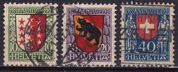 Switzerland / Schweiz / Suisse : 1921 Pro Juventute Kantonalwappen Gestempelter Satz Michel 172 / 174 - Pro Juventute