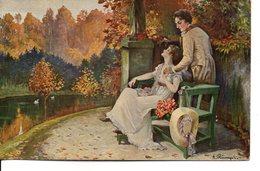 Belle Illustrée Signée Karl Rumpel : Couple Un Soir D'été - Couples