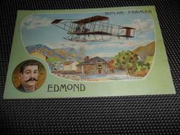 Aviation ( 4 ) Avion Vliegtuig Pilote  Piloot  Edmond   Biplan Farman  - Illustrateur V. Mellone - Flieger