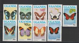 Ouganda 1991 Papillons Série 608a-617a 9 Val ** MNH - Schmetterlinge