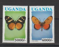 Ouganda 1991 Papillons 853-4 2 Val ** MNH - Schmetterlinge
