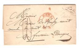 AOP26/ LAC De Solre Sur Sambre 27/6/1834 C.Rouge Mons Port 10 V.Fontaine Lévêque Pont De Sambre Souligné - 1830-1849 (Belgique Indépendante)
