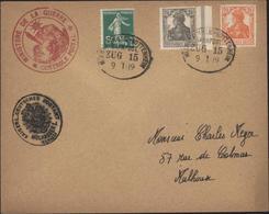 Mixte YT 137 Alsace Lorraine + 96 Et 98 Deutsches Reich + Censure Ministère Guerre + Kaiser Deutsches Postamt Mulhausen - Marcofilia (sobres)