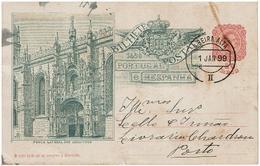 Portugal , 1899 ,  Stationery , Entier , D. Carlos I , Porta Lateral Dos Jeronimos , Ambulância Beira Alta II Postmark - Ganzsachen