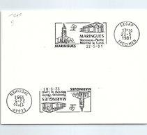 SPECIMEN SECAP - MARINGUES  VACANCES PÊCHE MARCHE LE LUNDI - 22.5.1981   / 1 - Postmark Collection (Covers)