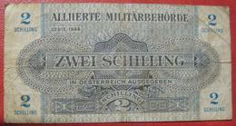 2 Schilling 1944 (WPM 104b) / Alliierte Militärbehörde Watermark / Wasserzeichen: Waves / Wellen - Austria
