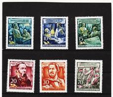 YZO421 DDR 1955 MICHL 485/90 ** Postfrisch ZÄHNUNG SIEHE ABBILDUNG - DDR