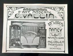 ATELIERS E. VALIN NANCY MENUISERIE MEUBLE DECORATIFS ART NOUVEAU PUBLICITE 1900 ADVERTISING JUGENDSTIL FURNITURE - Publicités