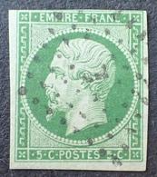 DF40266/24 - NAPOLEON III N°12c Vert Foncé Sur Vert - Cachet Bureau De PARIS - (Très Léger Pelurage) - Cote : 380,00 € - 1853-1860 Napoléon III