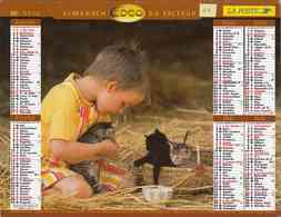 °° Calendrier Almanach La Poste 2000 Lavigne - Dépt 11 - Enfants Avec Chien Et Chats - Calendriers