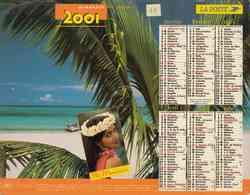°° Calendrier Almanach La Poste 2001 Lavigne - Dépt 11 - Martinique Et Ile Maurice - Groot Formaat: 2001-...