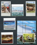 Fujeira  1972 Mi # 1289 A - 1293 A + BLOCK 130 A AIRPLANES TRAIN TRANSPORT MNH - Fujeira