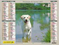 °° Calendrier Almanach La Poste 2001 Oberthur - Dépt 11 - Chiens - Groot Formaat: 2001-...