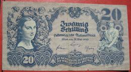 20 Schilling 29.5.1945 (WPM 116) / Watermark - Wasserzeichen: Waben - Austria