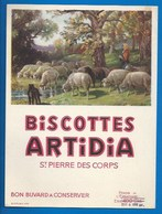 37 - SAINT-PIERRE-DES-CORPS - BUVARD - BISCOTTES ARTIDIA - LA BERGÈRE ET SES MOUTONS - Biscottes