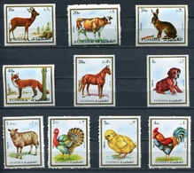 Fujeira  1972 Mi # 1295 A - 1304 A FAUNA HORSE BIRDS DOGS MNH - Fujeira