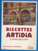 37 - SAINT-PIERRE-DES-CORPS - BUVARD - BISCOTTES ARTIDIA - PECHEURS ET PEINTRE - Biscottes