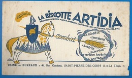 37 - SAINT-PIERRE-DES-CORPS - BUVARD - BISCOTTES ARTIDIA - COMBAT LE DIABETE...  - USINE 46 RUE GAMBETTA - Biscottes