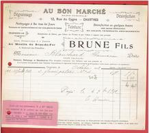 FACTURE 1912 AU BON MARCHE 12 RUE DU CYGNE CHARTRES NETTOYAGE A SEC USINE AU MOULIN DU BRAS DE FER BLD. DES FILLES DIEU - France