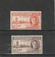 Barbade * 1946 N° 185/186   Anniversaire De La Victoire - Barbades (1966-...)