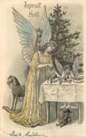 Fantaisie - Ange - Carte Gaufrée - Embossed Card - Jouets - Arlequin - Cheval De Bois - Toys - Harlequin - Wood Horse - Angels