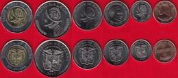 "Panama Set Of 6 Coins: 1 Centesimo - 1 Balboa 2017-2018 ""New Coat Of Arms"" UNC - Panama"