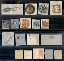 Antichi Stati Italiani - Lombardo Veneto - 1850/1860 - 3 Singoli + 7 Frammenti Usati A Milano - Qualità Mista - Da Esami - Unclassified