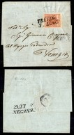 Antichi Stati Italiani - Lombardo Veneto - 15 Cent (3e - Rosso Vermiglio) Su Lettera Da Treviso A Venezia - Stamps